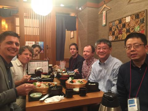 Mike (left) having lunch with good friends and colleagues, including Dan Mittleman (Brown),  Tsuneyuki Ozaki (INRS), Petr Kužel (Academy of Sciences of the Czech Republic), and X. -C. Zhang (Rochester)