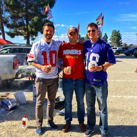 Daniel, Nick, and Mike at the American football game, the NY Giants vs. the San Francisco 49ers.